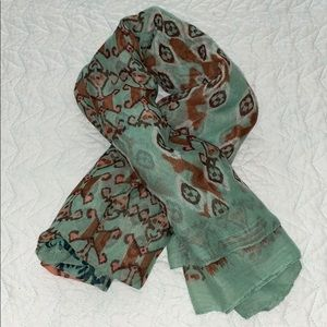 Polyester Green and Pink Scarf